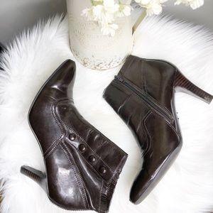 FRANCO SARTO Brown leather heel booties sz 8.5
